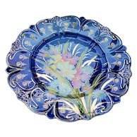 """Spectacular RS Prussia Vintage 1900 Colorful Water Flowers Large 12-1/4"""" Floral Chop Plate - Red Tag Sale Item"""