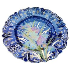 "Spectacular RS Prussia Vintage 1900 Colorful Water Flowers Large 12-1/4"" Floral Chop Plate"