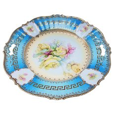 "Breathtaking Vintage RS Prussia 1900's ""Yellow Roses"" 12"" Caribbean Blue Floral Chop Plate With Greek Key & Pink Roses In Relief"