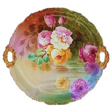 """Wonderful Jean Pouyat Limoges France 1900's Hand Painted """"Reflecting Roses"""" 11-1/2"""" Floral Plate by Artist, """"Segur"""""""
