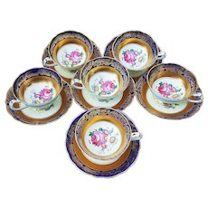 """Fabulous & Exquisite Paragon China 1930's Set of 6 Floral Cups & Saucers Hand Painted """"Garden Flowers"""" with Heavy Gilded Gold & Cobalt Blue Decor"""