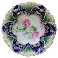 "Magnificent RS Prussia Cobalt Blue Vintage 1900 ""Snowball & Roses"" 11"" 6 Dome Floral Bowl"