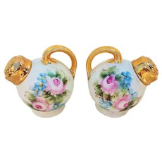 """Beautiful Bavaria 1900's Hand Painted """"Roses & Forget Me Not"""" Floral Salt & Pepper Shakers"""