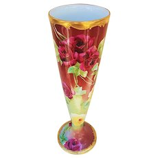 "Gorgeous Vintage 1900 Leonard Vienna Austria & Pickard Studio 1900's Hand Painted Deep ""Red Roses"" 11-3/4"" Floral Trumpet Vase Signed ""Edgerton"""