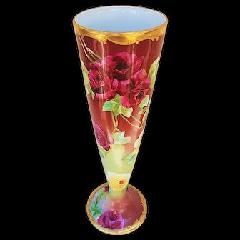 "Gorgeous Vintage 1900 Leonard Vienna Austria & Pickard Studio 1900's Hand Painted Deep ""Red Roses"" 11-3/4"" Floral Trumpet Vase Signed ""Edgerton"""