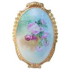 "Beautiful & Large Limoges France 1900's Hand Painted ""Red & Pink Roses"" 13-1/4"" Heavy Gilded Gold Floral Plaque"