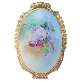 """Beautiful & Large Limoges France 1900's Hand Painted """"Red & Pink Roses"""" 13-1/4"""" Heavy Gilded Gold Floral Plaque"""