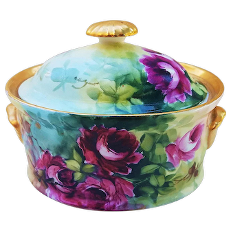 """Simply Gorgeous O.E.& G Royal Austria 1900's Hand Painted """"Deep Red Roses"""" 6-1/8"""" Floral Dresser Casket by Artist, """"G.L. Greaves"""""""