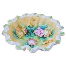 """Beautiful Vintage RS Prussia 1900's """"Pink & Yellow Roses"""" 6-1/4"""" Stipple Decor 3-Footed Floral Bowl"""