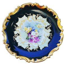 "Exquisite Limoges France Vintage 1900's Hand Painted ""Petite Pink, Yellow & White Roses"" 13-1/4"" Rococo Floral Charger by the Artist, ""F. de B."""