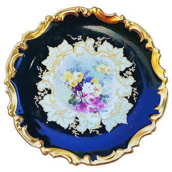 """Exquisite Limoges France Vintage 1900's Hand Painted """"Petite Pink, Yellow & White Roses"""" 13-1/4"""" Rococo Floral Charger by the Artist, """"F. de B."""""""
