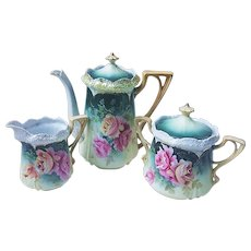 """Exquisite Vintage RS Prussia 1910 Hand Painted """"Deep Pink & Yellow-Peach Roses"""" 5-Pc Floral Stipple Mold Tea Set by German Artist, """"Rein"""""""