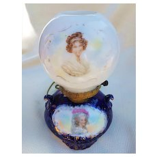 """Scare RS Prussia [OS] Pre-1900 Double Portrait of """"French Queen Marie Antoinette & French Artist, Vigée Le Brun"""" Cobalt Blue Portrait Lamp"""