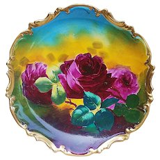 "Gorgeous & Vibrant Coronet Limoges France 1900's Hand Painted ""Deep Red Roses"" 10-1/4"" Rococo Style Floral Charger by French Artist, ""A. Marley"""