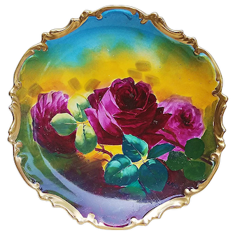 """Gorgeous & Vibrant Coronet Limoges France 1900's Hand Painted """"Deep Red Roses"""" 10-1/4"""" Rococo Style Floral Charger by French Artist, """"A. Marley"""""""