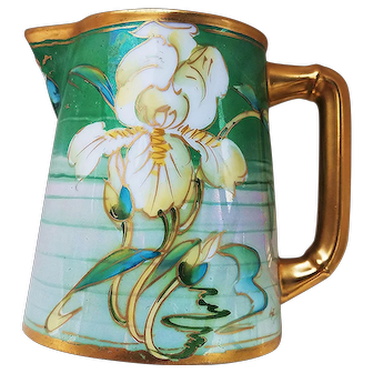 """Stunning Limoges France & Pickard Studio of Chicago 1910 """"Lily"""" Floral Milk Pitcher by Artist, """"Frederick Walters"""""""