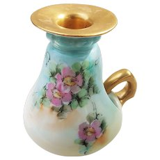 """Charming Vintage German 1900's Hand Painted """"Wild Pink Roses"""" 5"""" Floral Chamberstick"""