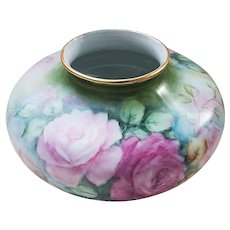 """Stunning Vintage Bavaria 1900's Hand Painted """"Light & Deep Pink Roses"""" 8"""" Floral Squatty Vase by Artist, """"B. Herl"""""""