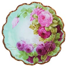 "Simply Gorgeous Vintage LDB & Co. Limoges France 1900's Hand Painted ""Red & Pink Roses"" 9"" Gilded Gold Scallop Floral Plate by Artist, ""Felix"""