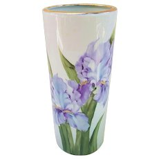 "Gorgeous Bavaria 1900's Hand Painted Lifelike ""Iris"" 9"" Floral Vase by Artist, ""Phyllis Craig"""