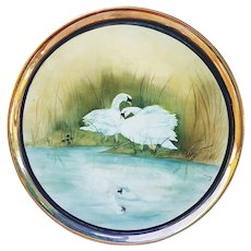 """Stunning Bavaria 1900's Hand Painted """"White Swans on A Lake"""" Hand Painted 11"""" Scenic Tray, Artist Signed"""
