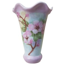 "Unusual Beautiful Bavaria 1900's Hand Painted ""Wild Pink Roses"" Floral Flared & Scallop Vase by Artist, ""M.G."""