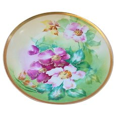 """Just Outstanding Vintage Limoges France 1900's Hand Painted Vibrant """"Red & Pink Poppies"""" 8-1/2"""" Floral Plate"""
