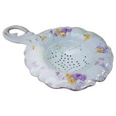"""RS Prussia Vintage 1900's """"Violets"""" 6-1/4"""" Floral Tea Strainer"""