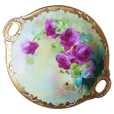 "Gorgeous Jean Pouyat Limoges France & Pickard Studio 1918 Hand Painted Deep Red Roses"" 11-3/4"" Heavy Rococo Gold Floral Plate by Artist, ""Joseph Blaha"""