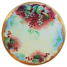 """Exquisite D'Arcy's Studio & Havilland France 1901 Hand Painted Vibrant """"Red Currant"""" Berry Plate by Artist, """"Torres"""""""