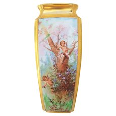 """Outstanding Osborne Studio of Chicago & Czechoslovakia 1920's Hand Painted """"Two Putti's Frolicking In a Meadow"""" 8"""" Scenic Vase by """"Asbjorn Osborne"""""""