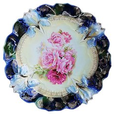 "Gorgeous RS Prussia 1900's Vibrant ""Pink Roses"" 9-3/4"" Fancy Iris Mold Floral Plate"