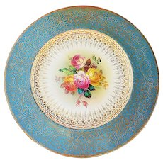 """Elegant English Minton Pre-1900 Hand Painted """"Pink, Yellow, & Marigold Roses"""" 10-1/4"""" Floral Plate, Artist Signed"""