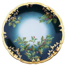 "Spectacular Vintage Limoges France 1900's Hand Painted ""Holly & Berry"" Rococo Style Dee[ Christmas Green Plate"