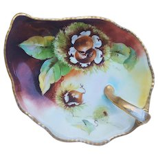 "D'Arcy's Art Studio Vintage 1900's Hand Painted ""Hazel Nuts"" 7"" Floral Nappy, by Artist, ""F. Poe"""