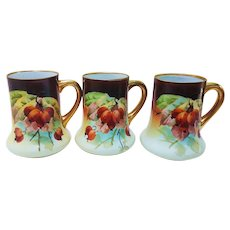 "Stunning Vintage Julius H. Brauer Studio of Chicago 1910 Hand Painted Vibrant Set of 3 ""Red Currant"" Decorative Steins by the Artist, ""Frederick ""Fritz"" Kammermayer"""