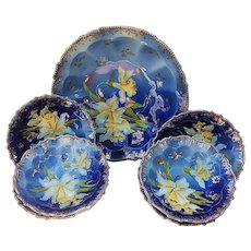 "Gorgeous RS Prussia 1900's Cobalt Blue ""Yellow Jonquils"" 7 Pc Bowl & Berry Set"