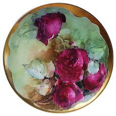 "Outstanding Vintage Havilland 1900's Hand Painted Vibrant ""Deep Red Roses"" Heavy Gilded Floral Plate"