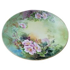 """Exquisite Vintage William Guerin Limoges France 1900's Hand Painted """"Wild Pink Roses"""" 9-1/4"""" Floral Plate, Artist Signed"""