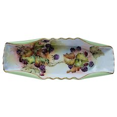 "Outstanding Vintage Leonard Vienna Austria 1900's Hand Painted Vibrant ""Blackberries"" 12-3/8"" Fruit Decor Tray"