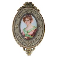 "Wonderful France Vintage 1900 Hand Painted Portrait of a ""French Lady"" 10-3/4"" Bronze Decor Beveled Glass Hand Mirror"