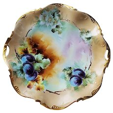 """Spectacular Vintage Bavaria 1915 Hand Painted """"Plums"""" 11-5/8"""" Plate by Listed Artist, """"Elsie Bieg"""""""