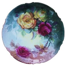 "Gorgeous Vintage Limoges France 1900's Hand Painted ""Deep Red & Yellow Roses"" Scallop Floral Plate"