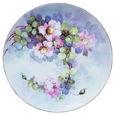 "Attractive Titanic Bavaria 1900's Hand Painted ""Wild Pink Roses"" 9"" Floral Plate by Artist, ""M. Hubenthal"""