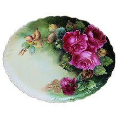 "Fabulous & Vibrant Vintage Jean Pouyat Limoges France 1900's Hand Painted ""Deep Red Roses"" 12"" Floral Tray"