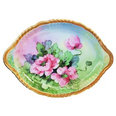 "Captivating Vintage Vienna Austria 1900's Hand Painted Large ""Wild Pink Roses"" 12"" Floral Tray by Artist, ""L. Walker"""