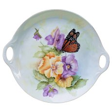 "Stunning Bavaria 1900's Hand Painted ""Monarch Butterfly With Yellow & Purple Pansy"" 7-7/8"" Floral Tray by Artist, ""L.M."""
