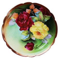 "Exceptional Vintage Coronet Limoges France 1900's Hand Painted Large ""Deep Red & Yellow Roses"" 8-3/4"" Floral Plate by the French Artist, ""Thuiller"""