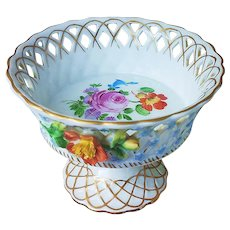"Beautiful Vintage Dresden 1900's Hand Painted ""Blown Out Wild Flowers"" Reticulated Pedestal Floral Compote"