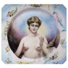 "Havilland & Co. Limoges France 1900's Hand Painted ""Greek Mythological Nude with Ball of String"" 8-1/2"" Portrait Plate"